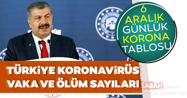 Bakan Fahrettin Koca SON DAKİKA açıkladı - 6 Aralık koronavirüs tablosu ile Türkiye corona virüsü vaka sayısı kaç oldu? Sağlık Bakanlığı korona son durum verileri…