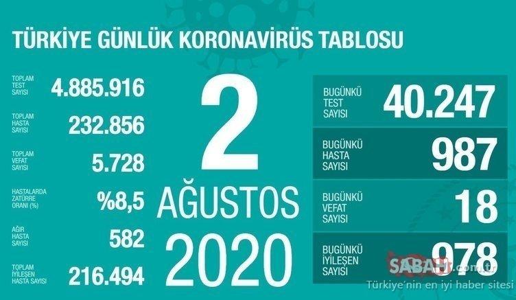 Son dakika Türkiye corona virüsü vaka sayısı 4 Ağustos 2020 günlük tablo: Türkiye corona virüsü vaka, ölü ve iyileşen sayısı kaç oldu?