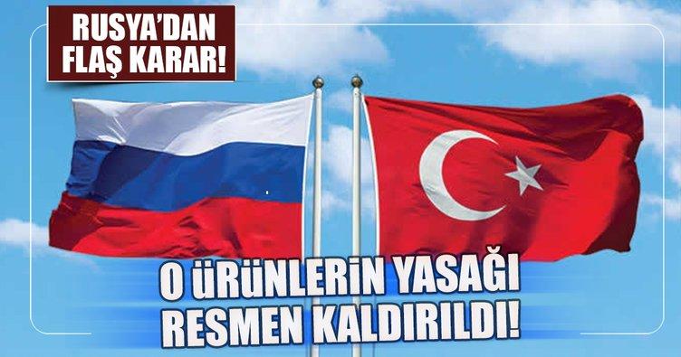 Rusya, Türkiye'deki tarım ürünleri yasağını kaldırdı
