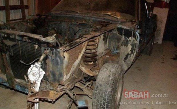 Hurdalıktan aldığı otomobilin son halini görenler küçük dilini yuttu!