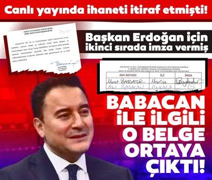 Canlı yayında ihanetini itiraf etmişti! Ali Babacan ile ilgili o belge ortaya çıktı! Başkan Erdoğan için ikinci sırada imza vermiş...