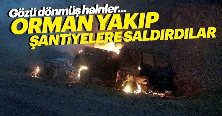 Terör örgütü PKK, orman yakıp şantiyelere saldırdı