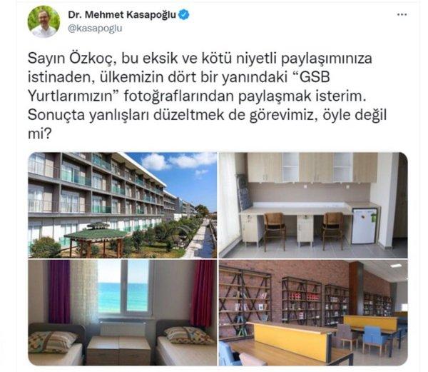 CHP'li Özkoç'un yurt odaları algısını Bakan Kasapoğlu bozdu - Son Dakika Haberler