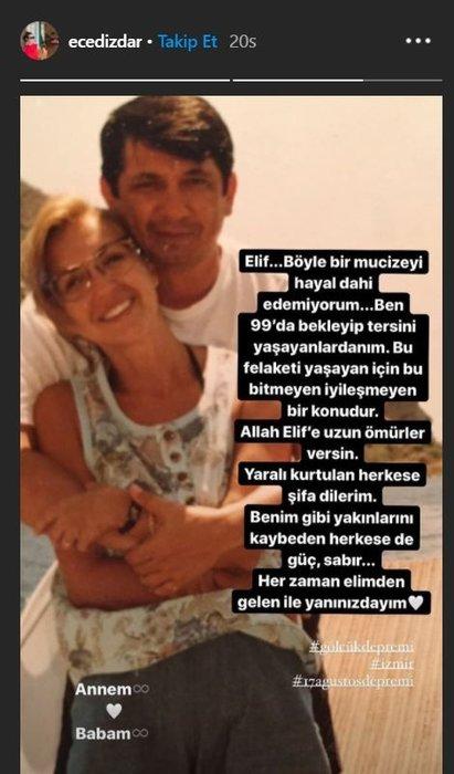 Oyuncu Ece Dizdar paylaşımı ile hayranlarını üzdü! 1999 depreminde ailesini kaybeden oyuncu Ece Dizdar mucize bebek Elif'e böyle seslendi...