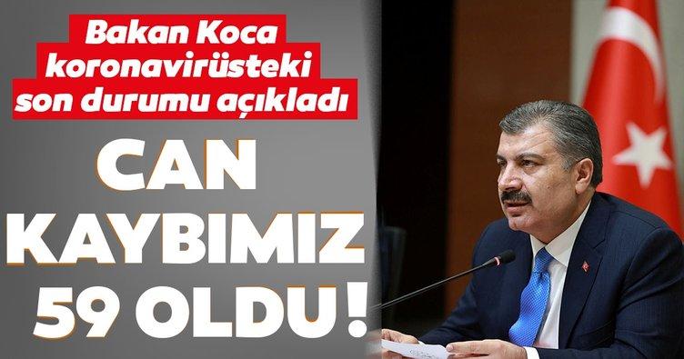 SON DAKİKA: Sağlık Bakanı Koca Türkiye'deki son corona virüs vaka ve ölüm sayısını açıkladı! Coronavirüsten can kaybı 59 oldu