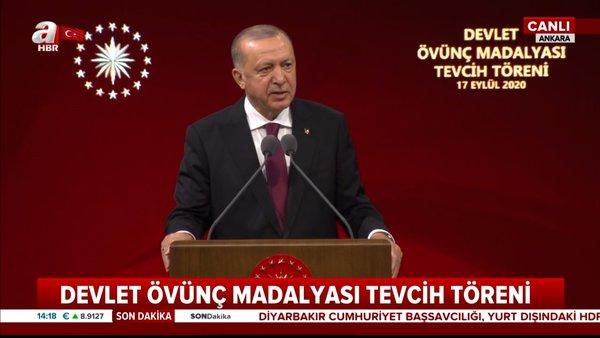 SON DAKİKA | Cumhurbaşkanı Erdoğan'dan Devlet Övünç Madalyası Tevcih Töreni'nde önemli açıklamalar | Video