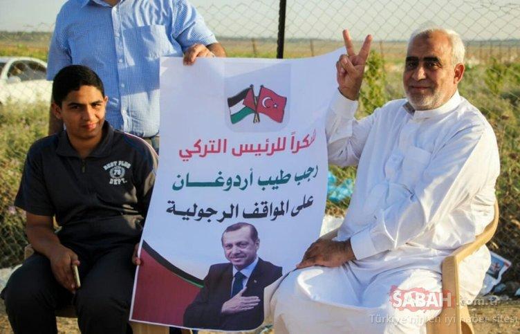 Gazze sınırında Erdoğan'a Teşekkür gösterisi
