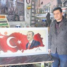 Mozaik ustasından dev Erdoğan tablosu