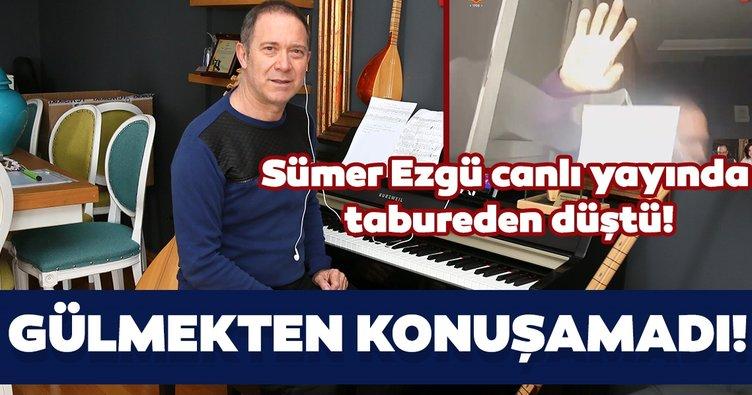 Türk halk müziği sanatçısı Sümer Ezgü canlı yayında tabureden düştü! Gülme krizine girdi!