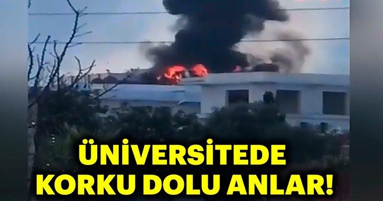(Görüntülü) Kıbrıs'ta Girne Amerikan Üniversitesi'nde yangın çıktı -2