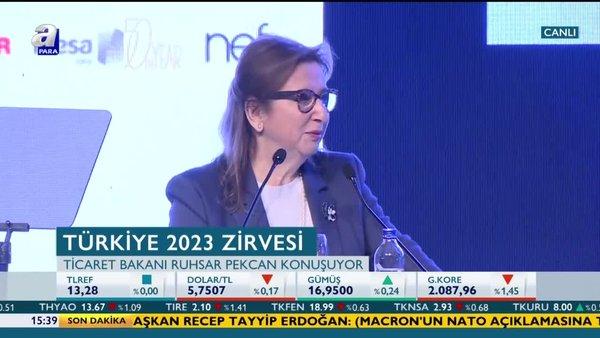 Ticaret Bakanı Ruhsar Pekcan'dan Türkiye 2023 Zirvesi'nde önemli açıklamalar