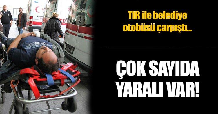 TIR ile halk otobüsü çarpıştı: 10 yaralı