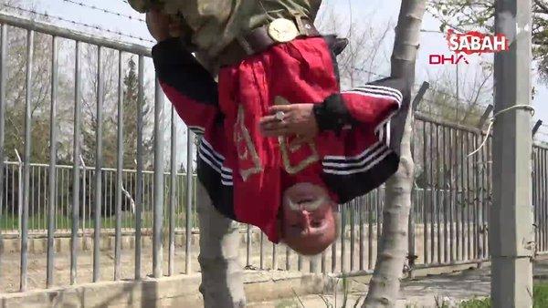 Adana'da corona virüsüne aldırmadan ağaca ayaklarından asılıp komanda marşı söyleyen 66 yaşındaki amcadan açıklama | Video