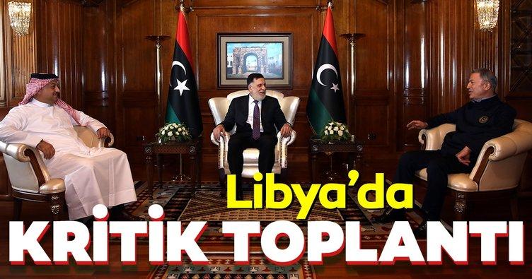 Libya'da kritik toplantı! Bakan Akar Libya Başbakanı Serrac ve Katar Savunma Bakanı el-Atiyye ile görüştü