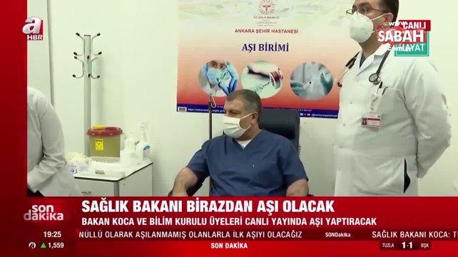 SON DAKİKA HABERİ: Sağlık Bakanı Fahrettin Koca canlı yayında koronavirüs aşısı yaptırdı   Video