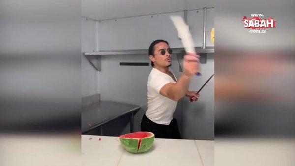 Nusret Gökçe meyveleri bıçakla havada ikiye böldüğü bir video paylaştı