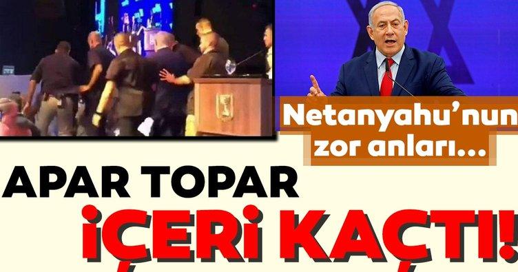 Netanyahu siren seslerinden korktu! Arkasında bile bakmadan kaçtı