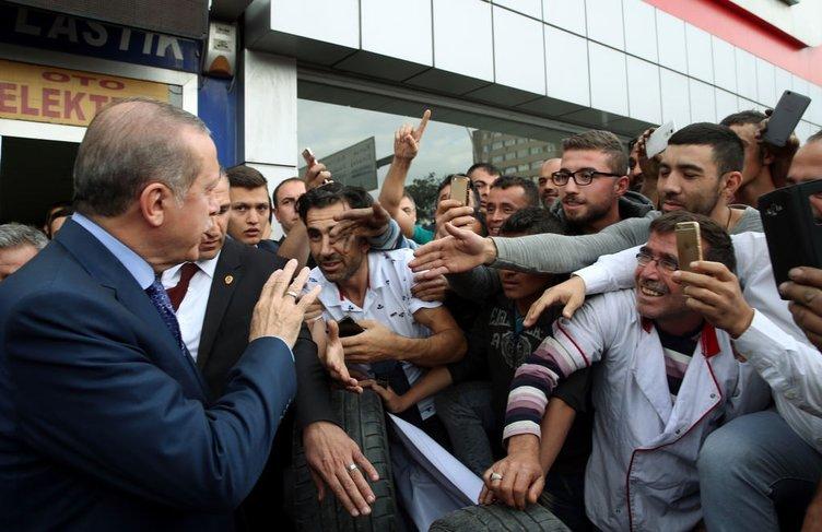 Erdoğan ve Yıldırım'dan esnaf ziyareti!