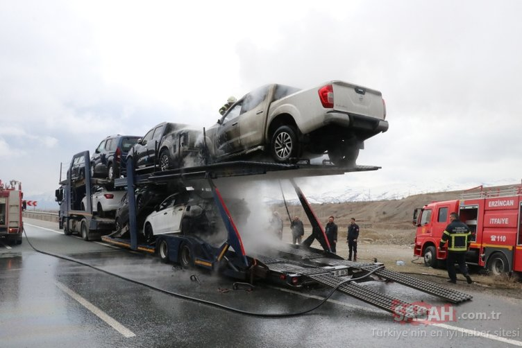 Lüks araçlar alev alev yandı