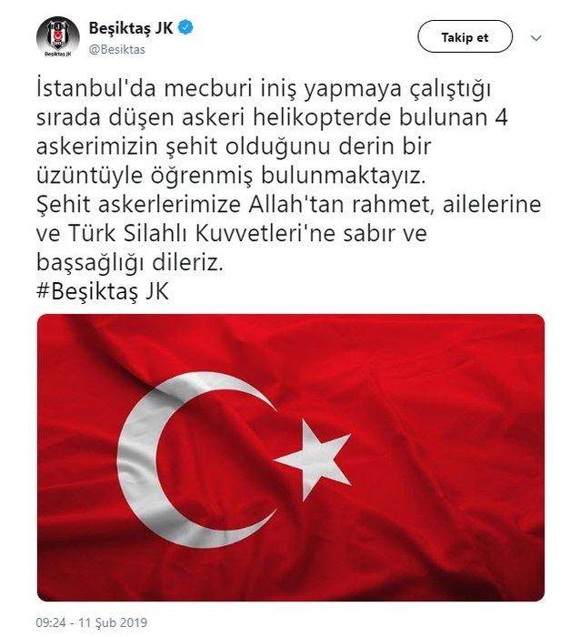 Futbol camiasından Çekmeköy'de şehit olan askerlerimiz için taziye mesajları