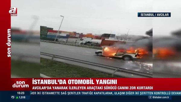 Son dakika! Avcılar Haramidere'de yanarak kayan araç korku saçtı   Video