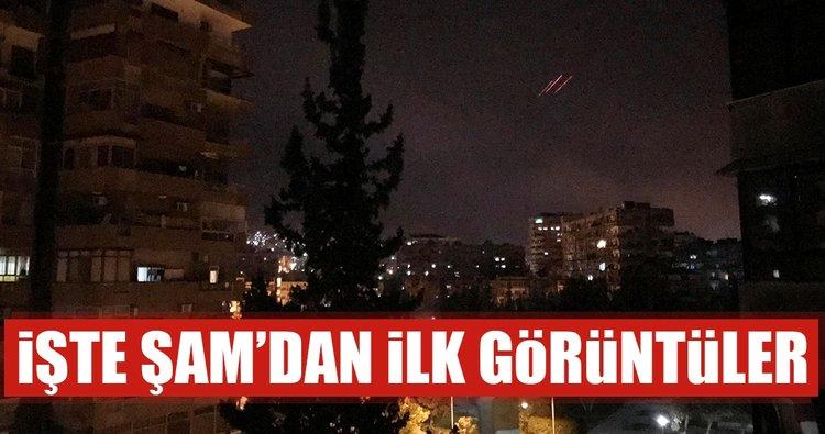 ABD Suriye'yi vurdu! Ä°Å?te Şam'dan ilk görüntüler
