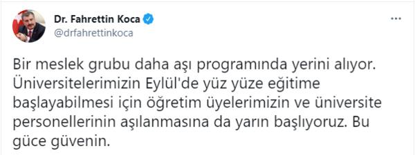SON DAKİKA! Sağlık Bakanı Fahrettin Koca duyurdu: Müzisyen, film ve dizi prodüksiyon ekipleri, öğretim üyeleri ve üniversite personeli aşı olmaya başlayabilecek 14