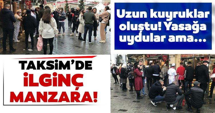 Son dakika: Koronavirüs tedbirleri dün akşam yürürlüğe girmişti! Taksim'de ilginç görüntüler! Yasağı çiğnemediler ama...