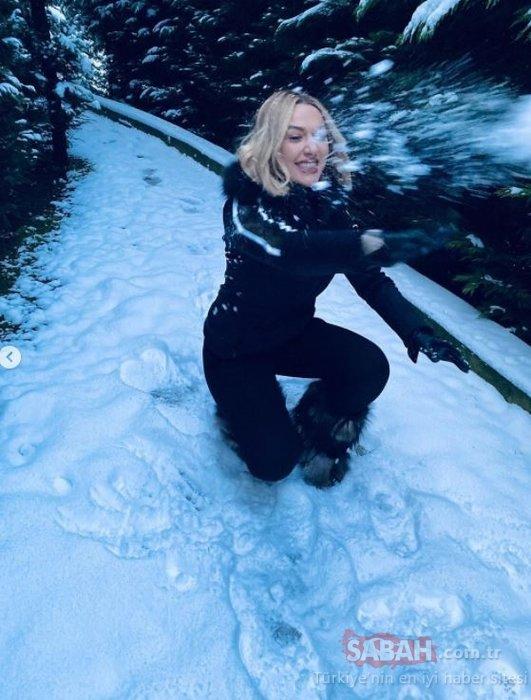 Şarkıcı Hadise aşkına döndü! Kar paylaşımı yapan Hadise çocuklar gibi şen...