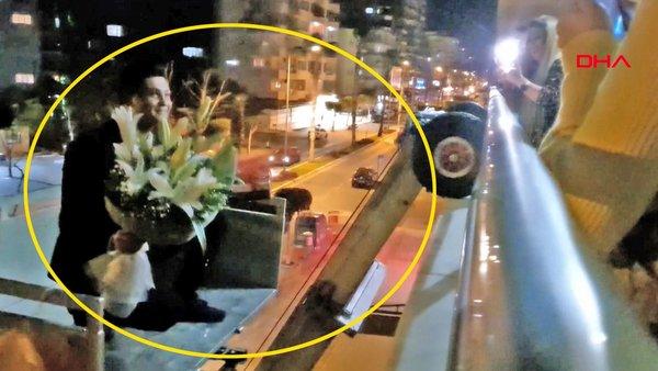 Antalya'da çılgın damat adayı kız istemeye gideceği eve balkondan böyle girdi | Video