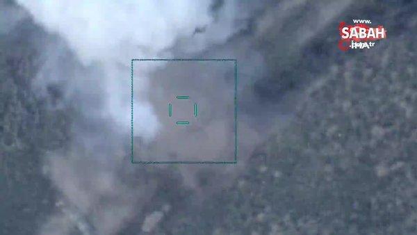 Azerbaycan'ın Ermenistan'a ait askeri aracı ve havan topu mevzisini havaya uçurma anı kamerada | Video