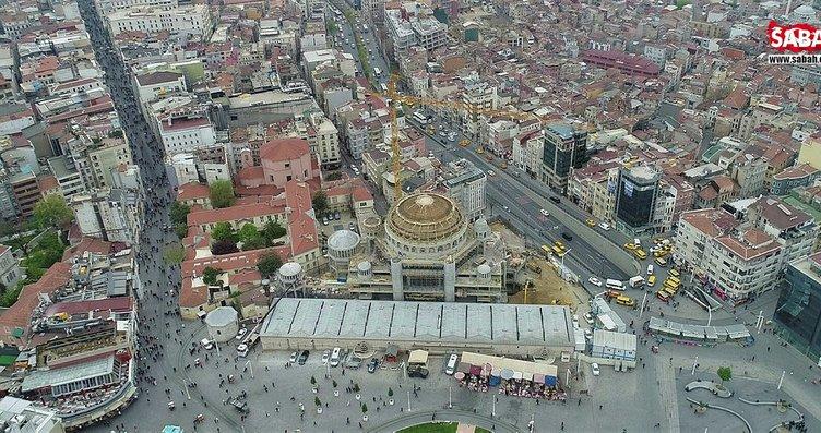 Taksim Camii inşaatında son durum havadan...