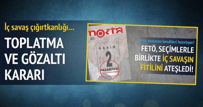 Nokta'nın kışkırtıcı kapağına toplatma ve gözaltı