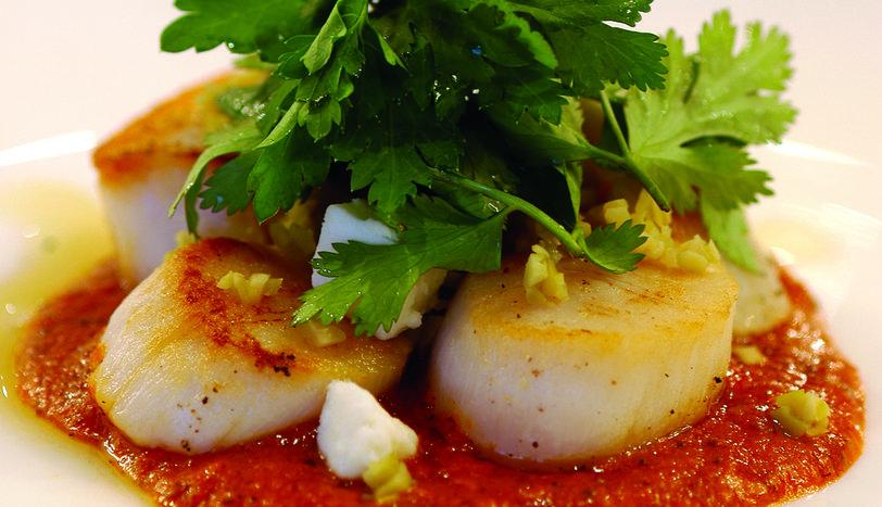 Harissa Soslu Deniz Tarağı,Yeşil Zeytin ve Peynir Salatası ile