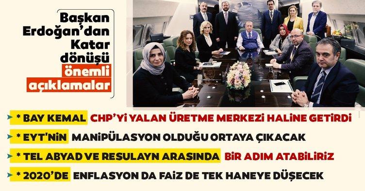 Başkan Erdoğan'dan Katar dönüşünde uçakta önemli açıklamalar