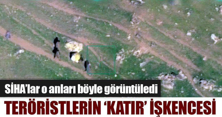 PKK'lı teröristlerin katırlara yaptığı işkenceyi SİHA'lar görüntüledi!