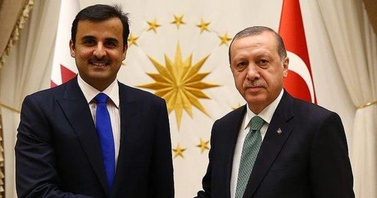 Son dakika: Başkan Erdoğan, Katar Emiri Şeyh Temim bin Hamed Al Sani ile görüştü