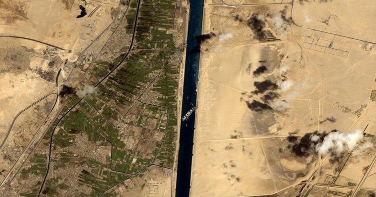 Göktürk-1 Keşif Uydusu, Süveyş Kanalı'nda karaya oturan gemiyi görüntüledi
