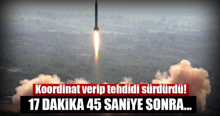 Kuzey Kore koordinat verip tehdidi sürdürdü: 17 dakika 45 saniye sonra...