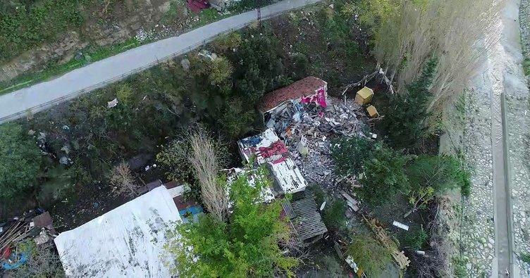 Ümraniye'de yıkılan gecekondular havadan görüntülendi