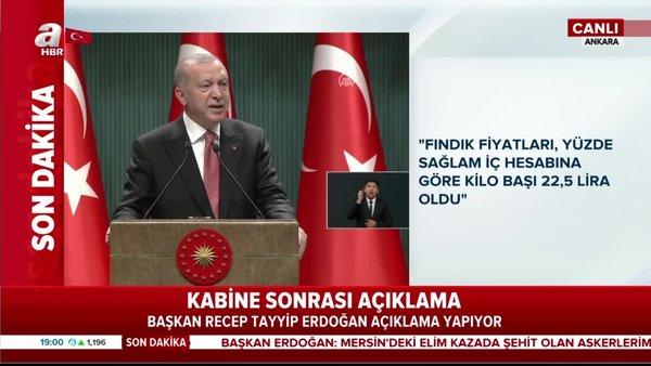 Başkan Erdoğan'dan fındık fiyatları ile ilgili son dakika açıklaması: