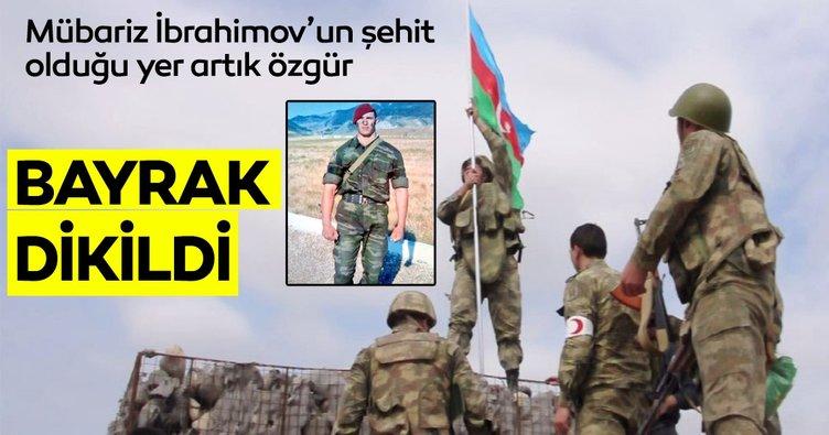 Azerbaycan'ın Milli Kahramanı İbrahimov'un şehit olduğu işgal altındaki mevziye Azerbaycan bayrağı dikildi