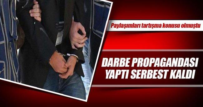 Darbe propagandası yaptı serbest kaldı