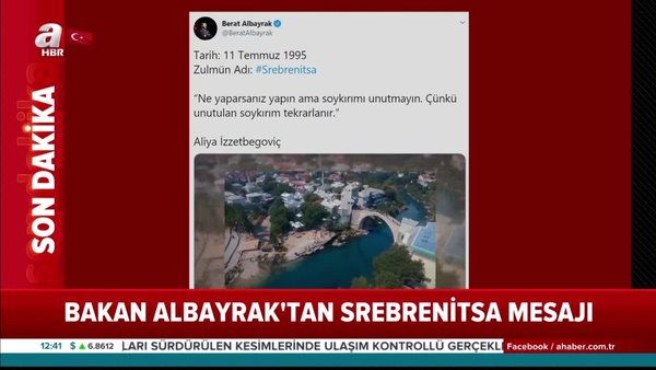 Hazine ve Maliye BakanıBerat Albayrak'tanflaş Srebrenitsamesajı | Video