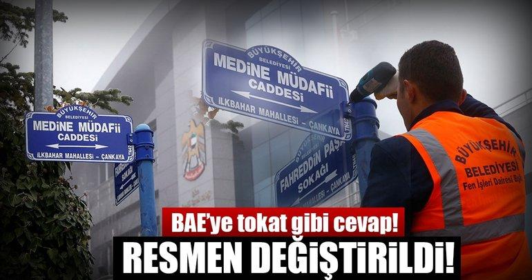 """BAE Büyükelçiliği artık """"Medine Müdafii Caddesi Fahreddin Paşa Sokağı"""" adresini kullanacak"""