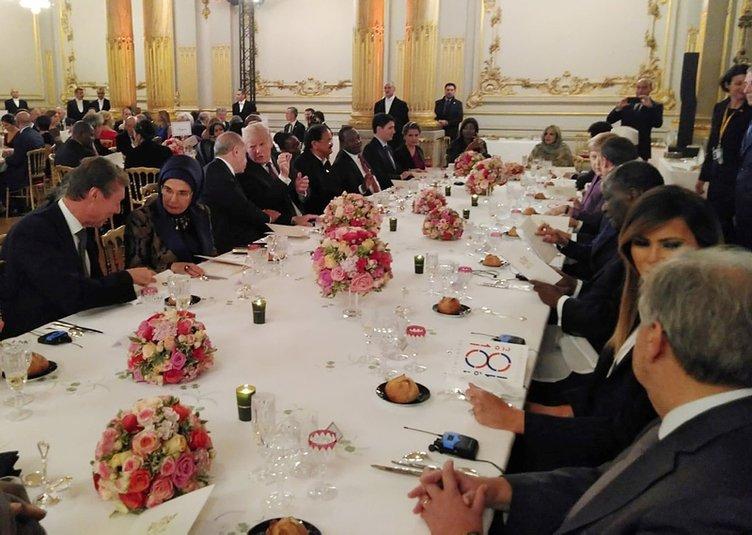 Erdoğan Paris'te liderlere verilen yemekte Trump ile görüştü