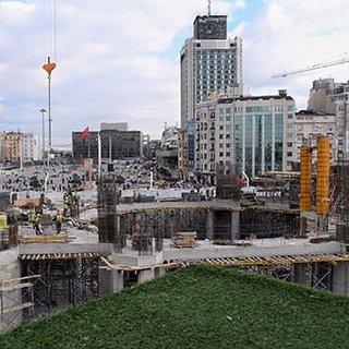 Taksim`e yapılan caminin ana taşıyıcıları tamamlandı
