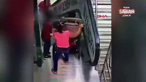 Yürüyen merdivenlerde korkunç kaza! Dehşet anları kamerada | Video