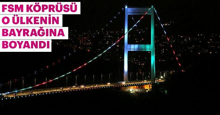 FSM Köprüsü Azerbaycan bayrağının renkleriyle ışıklandırıldı