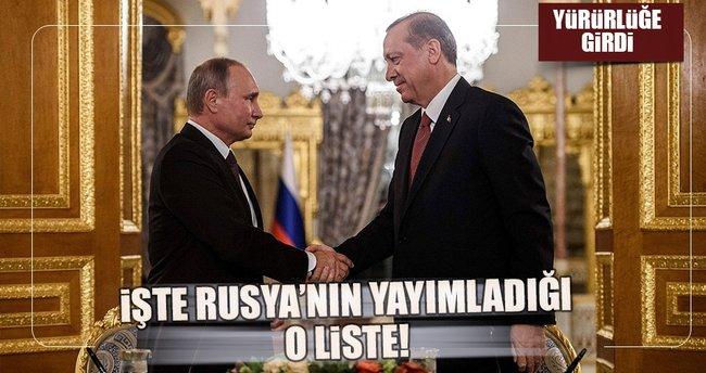 Rus Hükümeti o listeyi yayınladı
